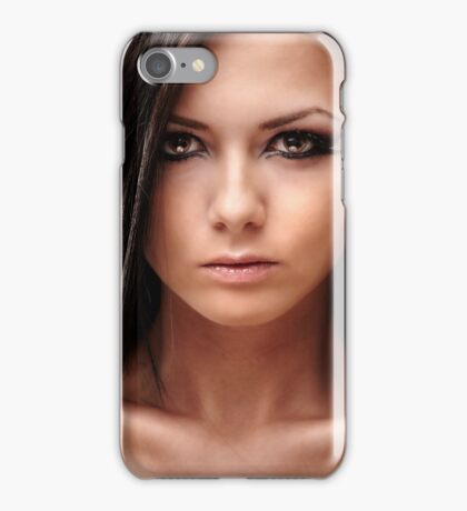 Sexy glamour brunette on red background iPhone Case/Skin