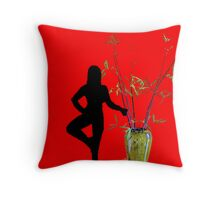 Ballerina and the vase Throw Pillow