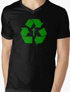 God Recycles people Mens V-Neck T-Shirt