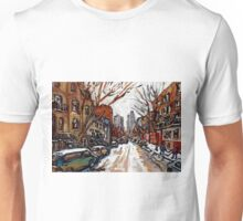 BEST PLATEAU MONT ROYAL STREET SCENES HUTCHISON AND PRINCE ARTHUR LOOKING TOWARDS DOWNTOWN MONTREAL Unisex T-Shirt