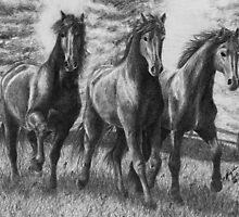 Running Trio by WolfPathStudio