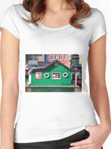 Copenhagen. The Green House on Water Women's Fitted Scoop T-Shirt