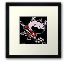 Stormy the Hockey Pig Framed Print