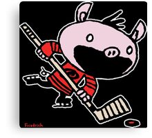 Stormy the Hockey Pig Canvas Print