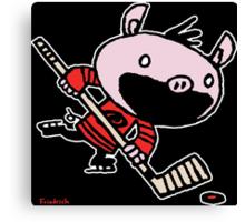 Stormy the Hockey Pig Canvas Print
