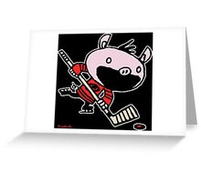 Stormy the Hockey Pig Greeting Card