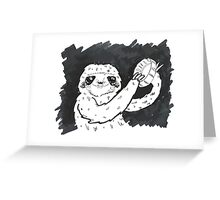 Sloth Tambourine Jam Session Greeting Card