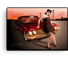 Pinup with a hot ride Canvas Print