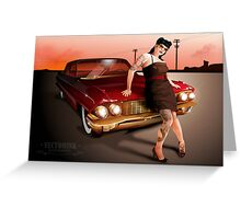 Pinup with a hot ride Greeting Card