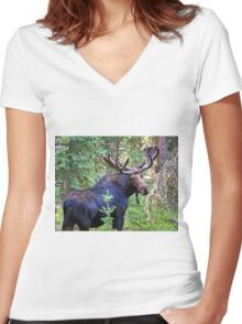 Bullwinkle Women's Fitted V-Neck T-Shirt