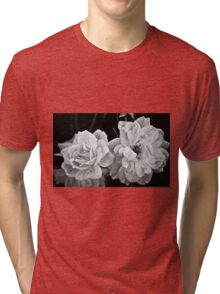 Roses in Black and White Tri-blend T-Shirt