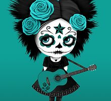 Teal Blue Sugar Skull Big Eyed Girl Playing the Guitar by Jeff Bartels