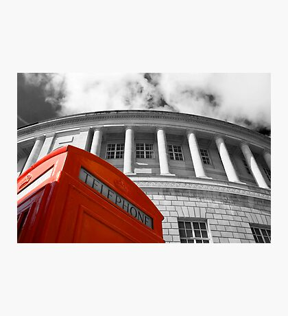 Red telephone box and Manchester library Photographic Print