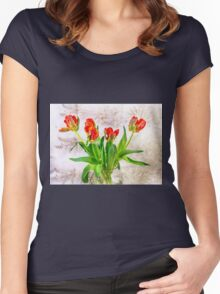 HDR French Red Tulips  Women's Fitted Scoop T-Shirt