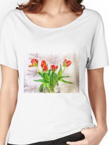 HDR French Red Tulips  Women's Relaxed Fit T-Shirt