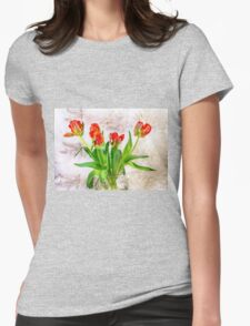 HDR French Red Tulips  Womens Fitted T-Shirt