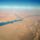 View from Airplane window Lake Mead &amp; Mountains by kodakcameragirl