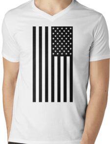 Black And White American Flag Mens V-Neck T-Shirt