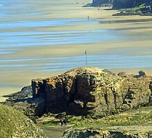 Castle Rock- Perranporth Beach Cornwall UK by lynn carter