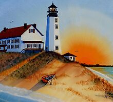 CAPE HENLOPEN LIGHTHOUSE -1929/ DE HISTORIC by RHAREart