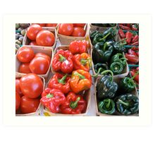 Tomatoes and peppers at Ann Arbor Farmers' Market Art Print