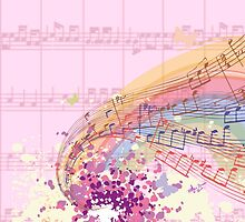 Pink Sheet Music Colorsplash by moondreamsmusic