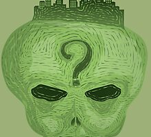 Alien Head with City on top by Syko-D-Art