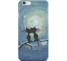 Cats in love in the moonlight iPhone Case/Skin