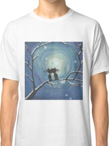 Cats in love in the moonlight Classic T-Shirt