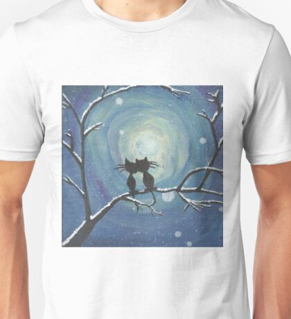 Cats in love in the moonlight Unisex T-Shirt