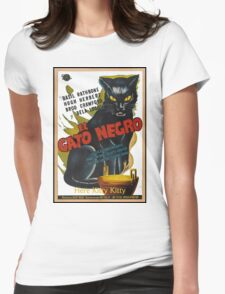 Black Cat Retro Vintage Movie  Womens Fitted T-Shirt