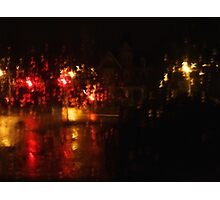 Night Time Intersection; Rainy Window Photographic Print