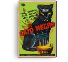 Black Cat Retro Vintage Movie  Canvas Print