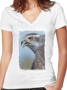 Northern Goshawk Screeching Women's Fitted V-Neck T-Shirt