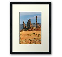 Totem Pole and Yei Bi Chei - Monument Valley Tribal Park, Navajo Nation Framed Print