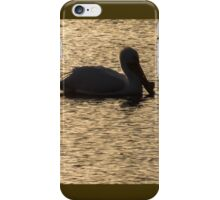 Pelican Silhouette On Golden Water iPhone Case/Skin