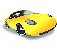 Yellow Sports Car Photographic Print