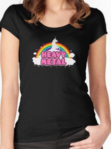HEAVY METAL! (Funny Unicorn / Rainbow Mosh Parody Design) Women's Fitted Scoop T-Shirt