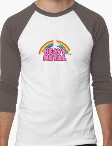 HEAVY METAL! (Funny Unicorn / Rainbow Mosh Parody Design) Men's Baseball ¾ T-Shirt