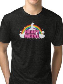 HEAVY METAL! (Funny Unicorn / Rainbow Mosh Parody Design) Tri-blend T-Shirt