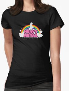 HEAVY METAL! (Funny Unicorn / Rainbow Mosh Parody Design) Womens Fitted T-Shirt