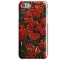 Red Poppies, abstract art, red flowers, wall art, home decor iPhone Case/Skin
