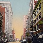 Looking North on Walnut Street near 10th., Kansas City, MIssouri view from antique postcard. by Steve Sutton