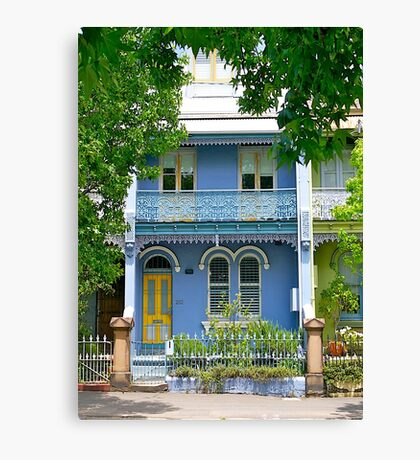 The Blue Terrace House. Old Sydney Style.  Canvas Print
