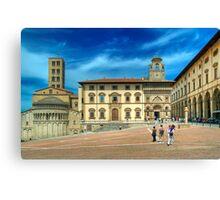 Arezzo - Piazza Grande and Santa Maria della Pieve Church Canvas Print