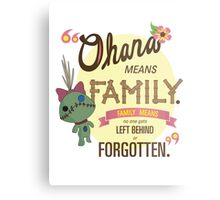 Ohana - Lilo and Stitch Quote Metal Print