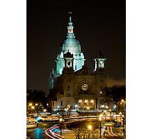 Basilica Of Saint Mary at night Photographic Print