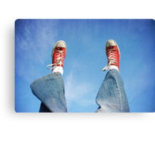 Happy shoes in the sky Canvas Print