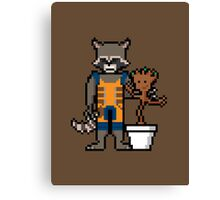 8Bit Rocket and Groot Canvas Print