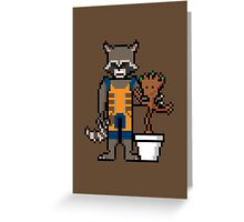 8Bit Rocket and Groot Greeting Card